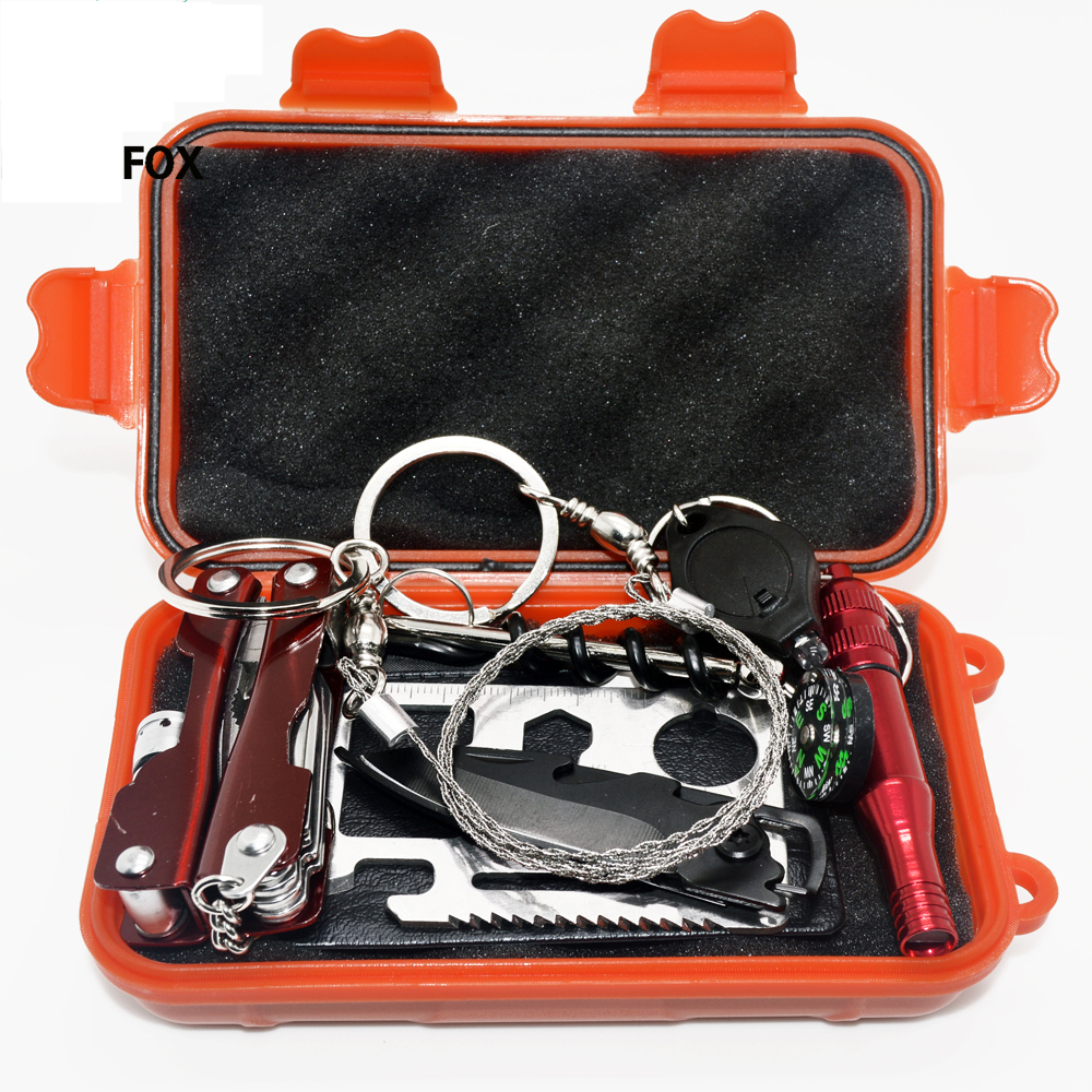 11 in 1 SOS Kit Outdoor Emergency Equipment Box For Camping Survival Gear Tools